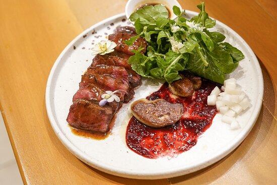 Striploin steak + foie-gras & truffle beef jus