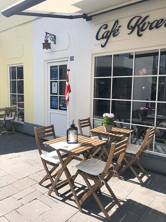 Find a nice spot outside the cafe