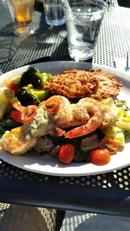 Alaskan Halibut and Shrimp with potato pancakes, delish!