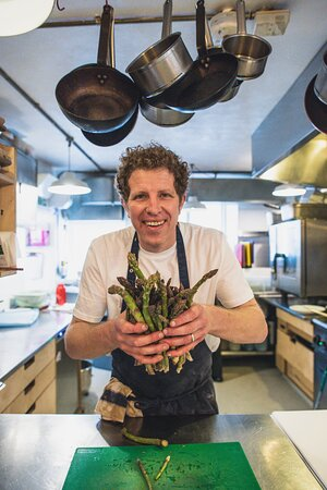 Co-owner and chef Andy with locally grown Dalwood asparagus