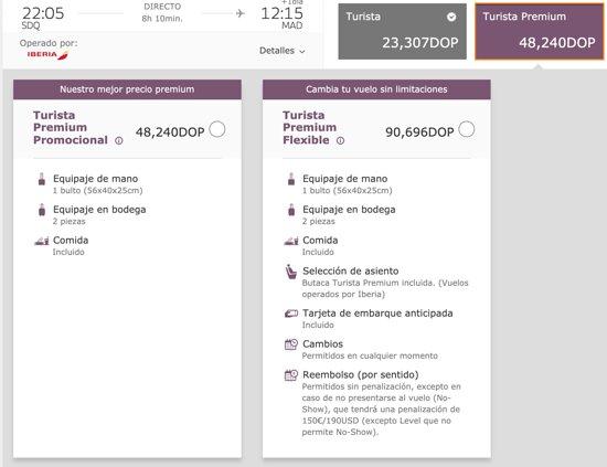 Iberia: Reservamos la tarifa Turista Premium Flexible, la más cara, precisamente porque era la única que no hablaba de bono.