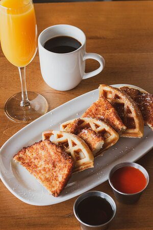 Chicken n Waffles served with hot sauce & maple syrup.  Available during brunch, Sat & Sun 10am - 2pm.