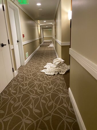 piles of towels waiting to get picked up for hours