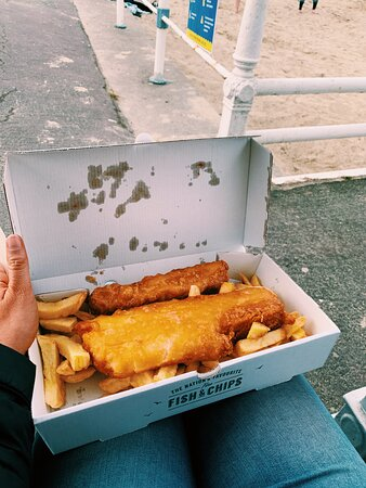 Gluten free fish and chips, and gluten free battered sausage