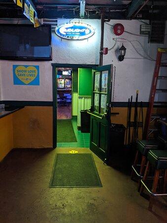 Door leading into the main bar at O'Malley's bar.