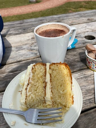 A fantastic homemade cake and a lovely hot chocolate