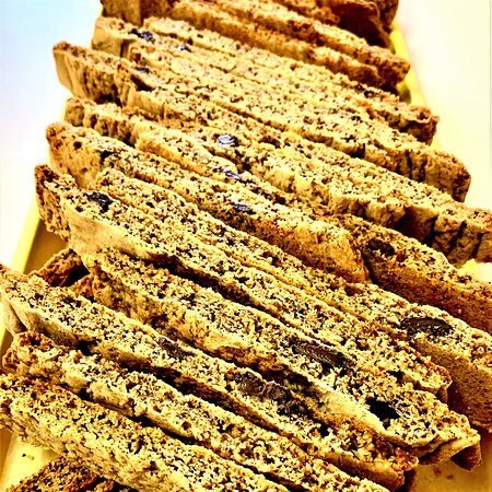 Biscotti - chocolate mocha is just one of the flavors we bake, and we always have fresh coffee brewing.