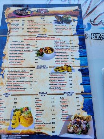 Aguada, Puerto Rico: menu at Waves