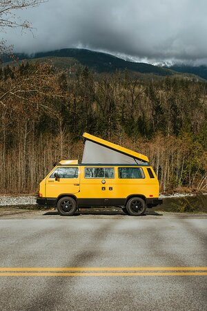 Vancouver, Canada: VW Vintage Westfalia Camper Vans complete with Pop-top tent for 4 people to sleep in.