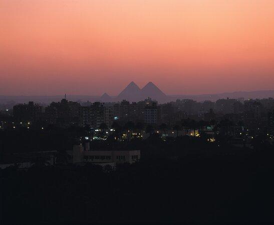 View of the pyramid at night.