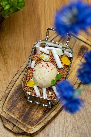 Warm rhubarb crumble / rhubarb cooked in raspberry purée / oatmeal crumble / kama meringue / vanilla ice cream