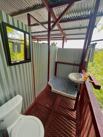 The Birdsnest treehouse apartment bathroom outdoor bathroom