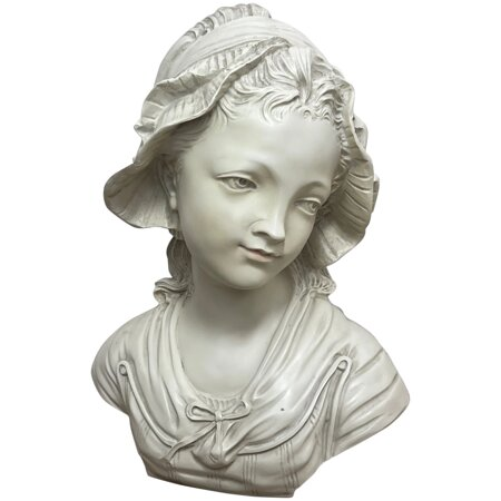 French Classical Young Lady Wearing Bonnet Bust Faux Marble Wall Sculpture