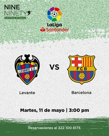 No puedes perder de este gran partido! ⚽🔥 Vive toda la pasión de la LaLiga en tu cóctel sport bar favorito, Nine Ninety 9.  Levante U.D. FS 🆚 FC Barcelona  📅 Martes 11 de mayo ⏰ 3:00 pm  Reservaciones al 322 100 6175