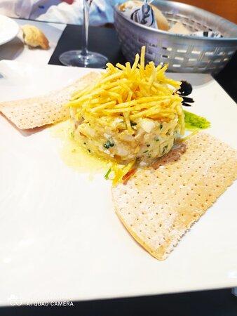 revuelto de bacalao con patata paja