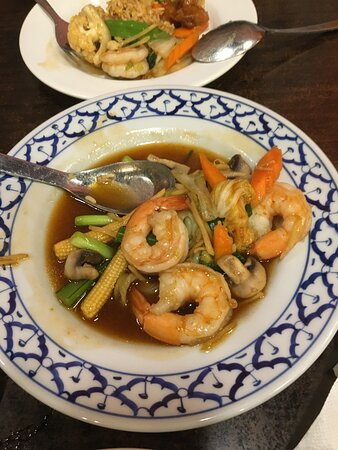 Vegetable stir fry with oyster sauce and prawns.