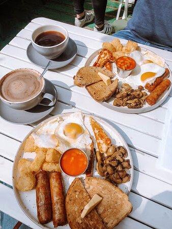 Two Vegetarian Breakfasts + Mocha + Americano -- SO GOOD!