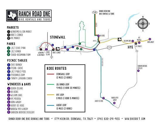 Ranch Road One Bike Tours Map