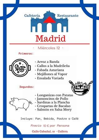 Ya estamos listos para🤩👏👏!!! Nuestro menú 🍽 para mañana  Miércoles!!!! Permítenos agradecértelo🥰🥰🥰. Esperamos vuestras reservas👩🍳!! Para disfrutar de una buena comida😋😋 Restaurante - Madrid Calle Cabañal, 10 - Cullera 📱☎️960 11 67 08