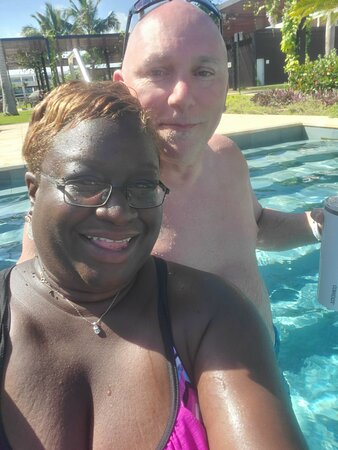 Hah hah..James with the me..the Jamaican Karen. He and Ms Karen have been married now almost 3 years. Cheers and many more!  I just met so many folks at the pool, the beach, while eating or just chilling. #greenworldwidetravel