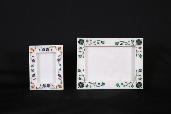 hand made marble photo frames ( picture holders ) with same semi precious stones used in the taj mahal,