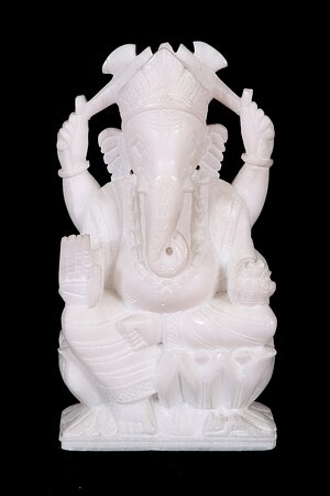 marble statue of lord ganesha completely hand carved out of makrana ( same marble used in taj mahal marble