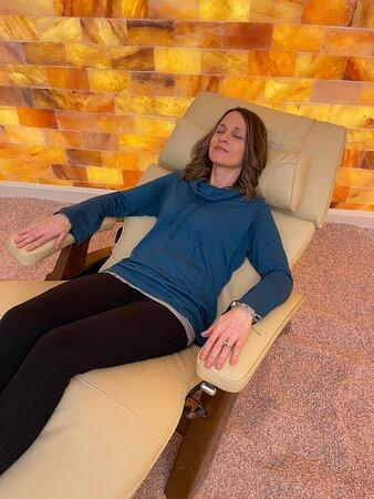 meditation salt room with zero gravity chairs