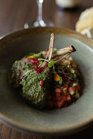 Lamb rack, tempered sago, spiced melon, sev, mint