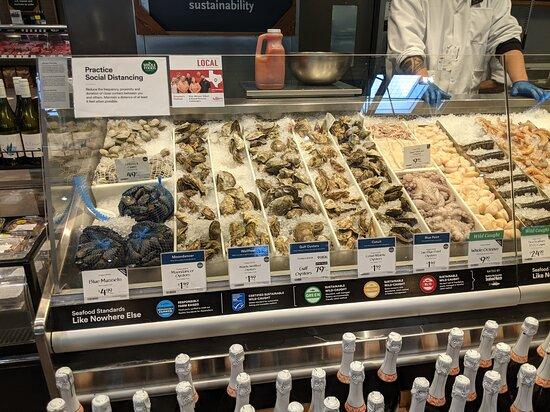 Fresh shell fish at Whole foods Market.