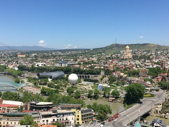 View of Tblisi from the top entrance of the garden