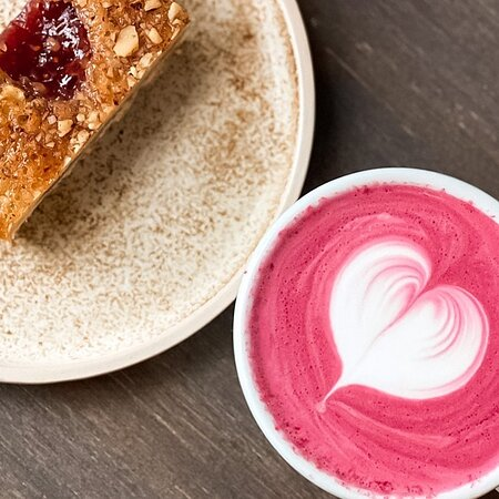 Beetroot drink and a snack cake