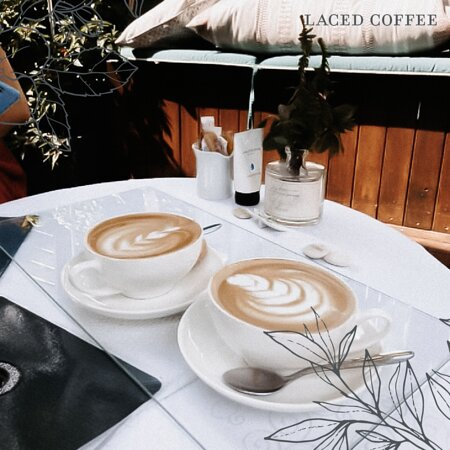 Freshly-roasted, hot coffee
