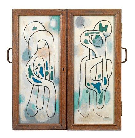 Βασίλης Σκυλάκος (1930-2000) «Χωρίς τίτλο» τρίπτυχο Β', 1963 λάδι σε ξύλο 80 x 75 εκ.