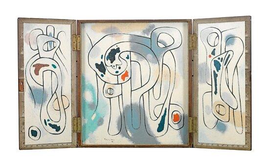 Βασίλης Σκυλάκος (1930-2000) «Χωρίς τίτλο» τρίπτυχο Β', 1963 λάδι σε ξύλο, ανοιχτό 80 x 150 εκ.