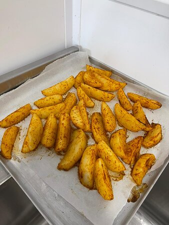 Our homemade thick oven-baked chips