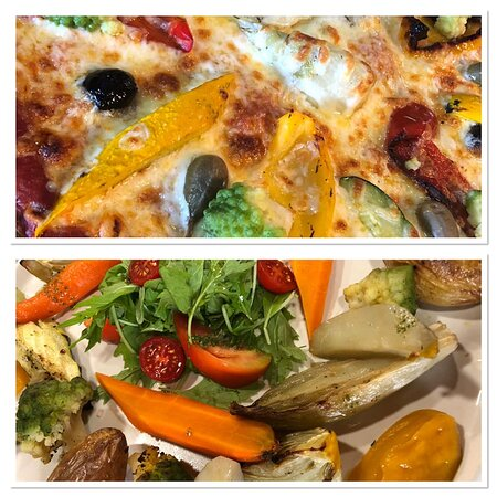 Pizzas et Assiette végétarienne