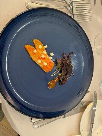 Bergamot cured ocean trout, black garlic sauce