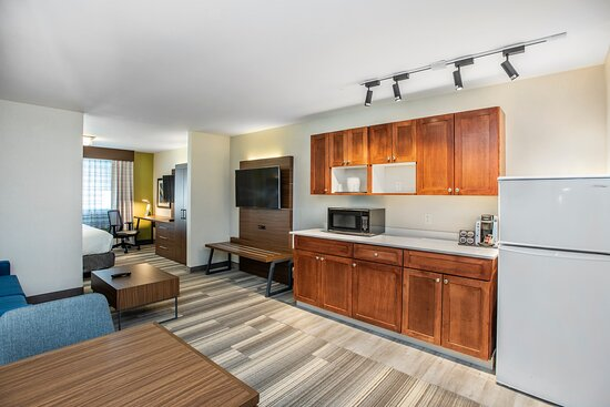 Nice living space with apartment size fridge ideal to keep snacks