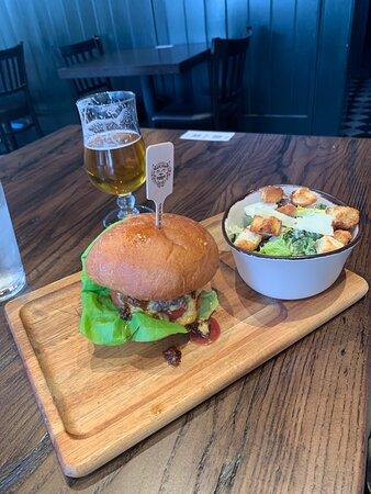 Ultimate Wagyu Burger, Romaine & Kale Caesar and Hoplandia IPA