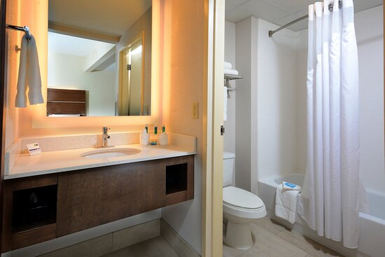 Our bathrooms feature modern vanities and soft towels.