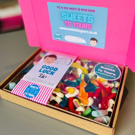 Pic n mix box to send in the post by Sweets To Yours. Order online at www.sweetstoyours.co.uk or pop into our shop open Wed, Thur pm and all day Friday