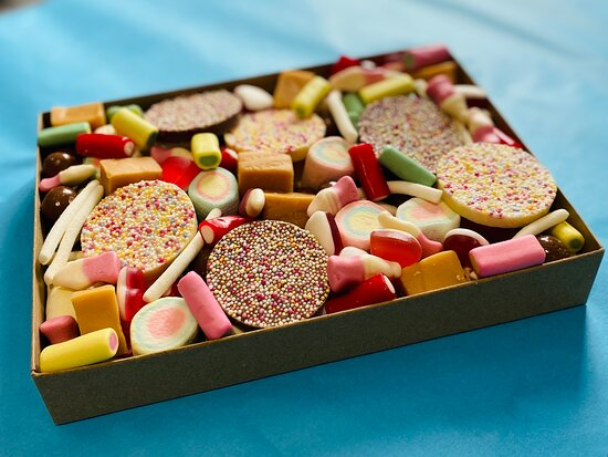 Pick your own sweet box by Sweets To Yours. Order online at www.sweetstoyours.co.uk or pop into our shop open Wed, Thur pm and all day Friday