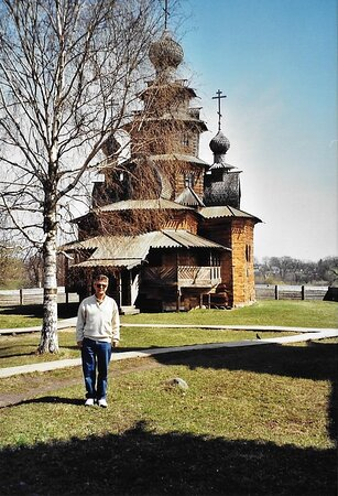 """The ancient """"Church of the Transfiguration"""" from the village of Kozlatjevo (1756) transferred to the open air """"Museum of Wooden Architecture"""" in Suzdal (Russia)."""