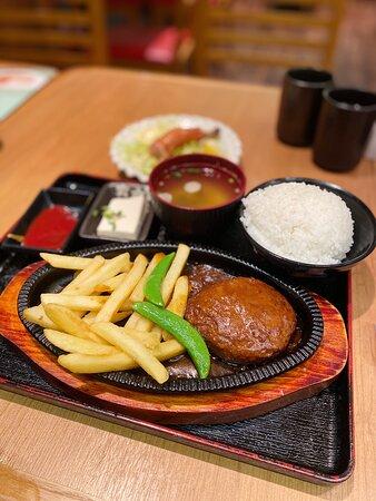 burger steak with teriyaki sauce set