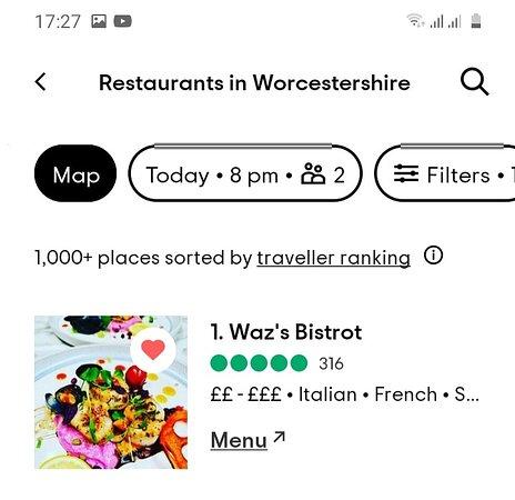 1st best restaurant in Worcestershire