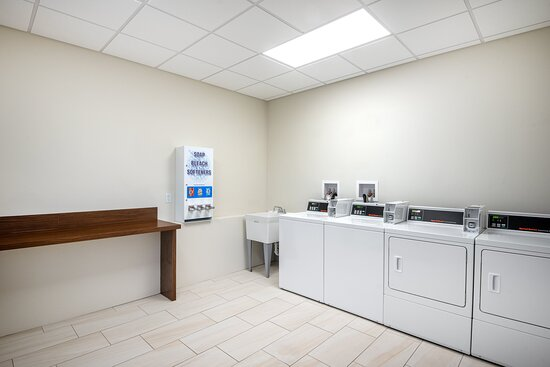 Our coin-operated laundry room is available 24 hours.