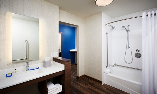 Accessible guest bathroom with Grab bars & handheld shower