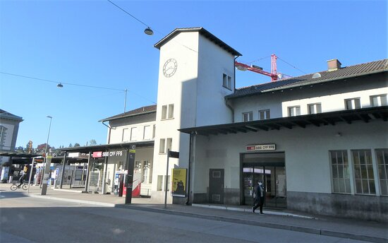 with a view of the railway station building
