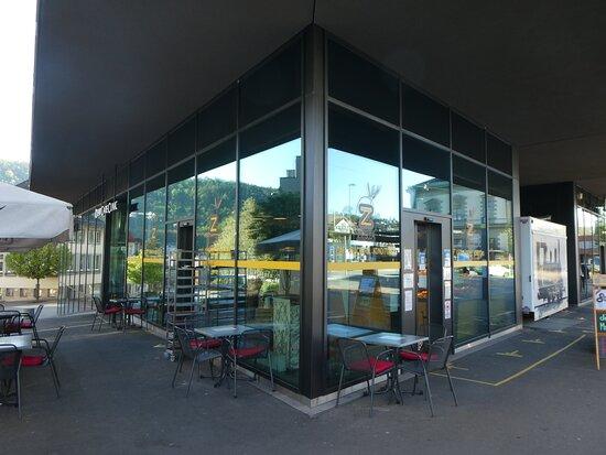 a shop behind glass