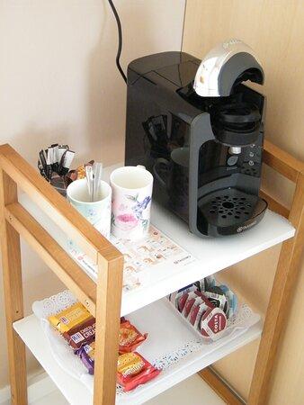 Coffee machine in each room.